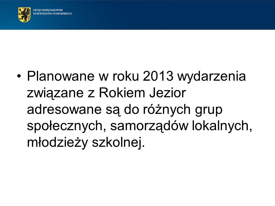 Planowane w roku 2013 wydarzenia związane z Rokiem Jezior adresowane są do różnych grup społecznych, samorządów lokalnych, młodzieży szkolnej.