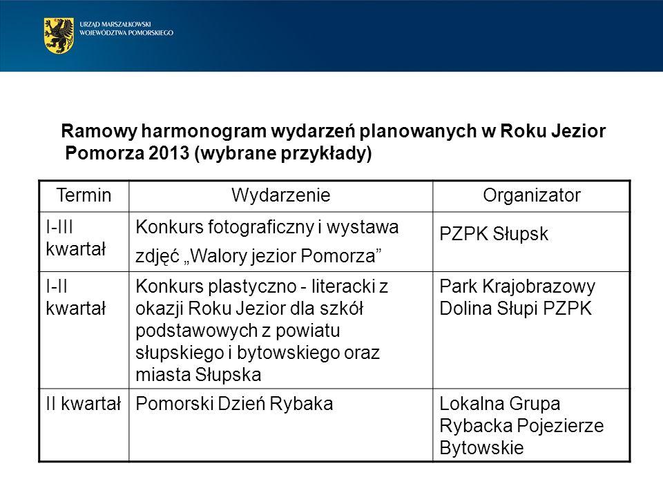 Ramowy harmonogram wydarzeń planowanych w Roku Jezior Pomorza 2013 (wybrane przykłady) TerminWydarzenieOrganizator I-III kwartał Konkurs fotograficzny