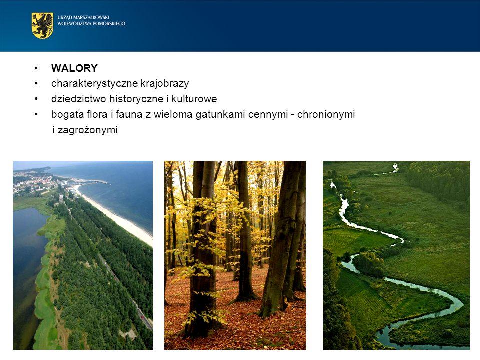 WALORY charakterystyczne krajobrazy dziedzictwo historyczne i kulturowe bogata flora i fauna z wieloma gatunkami cennymi - chronionymi i zagrożonymi