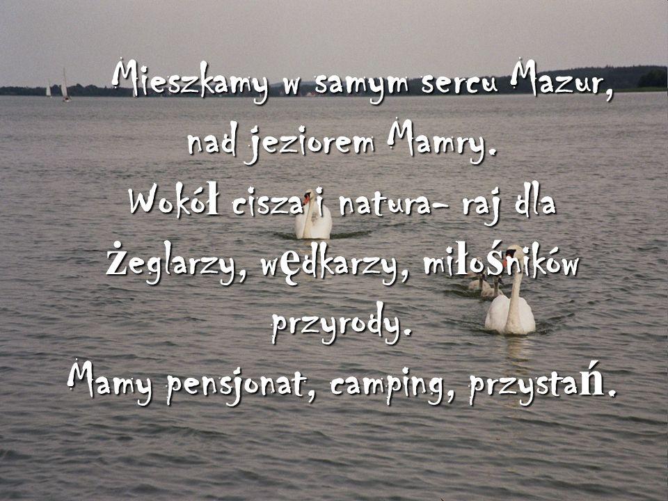 Mieszkamy w samym sercu Mazur, nad jeziorem Mamry. Wokó ł cisza i natura- raj dla ż eglarzy, w ę dkarzy, mi ł o ś ników przyrody. Mamy pensjonat, camp