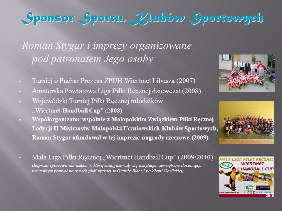Roman Stygar i imprezy organizowane pod patronatem Jego osoby Turniej o Puchar Prezesa ZPUH Wiertmet Libusza (2007) Amatorska Powiatowa Liga Piłki Ręc