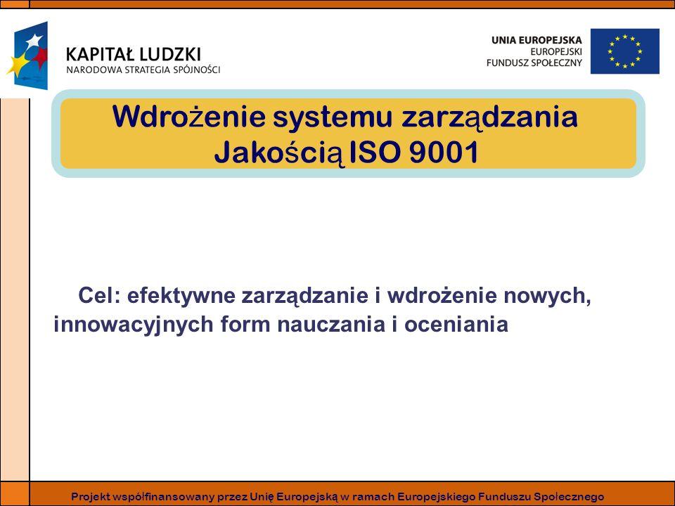 Projekt wspó ł finansowany przez Uni ę Europejsk ą w ramach Europejskiego Funduszu Spo ł ecznego Wdro ż enie systemu zarz ą dzania Jako ś ci ą ISO 9001 Cel: efektywne zarządzanie i wdrożenie nowych, innowacyjnych form nauczania i oceniania