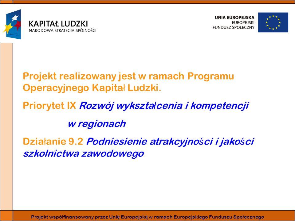 Projekt realizowany jest w ramach Programu Operacyjnego Kapita ł Ludzki. Priorytet IX Rozwój wykszta ł cenia i kompetencji w regionach Dzia ł anie 9.2