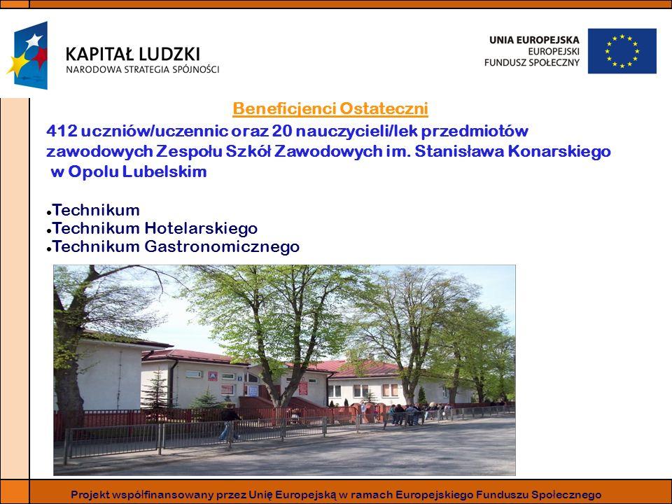Beneficjenci Ostateczni 412 uczniów/uczennic oraz 20 nauczycieli/lek przedmiotów zawodowych Zespo ł u Szkó ł Zawodowych im.