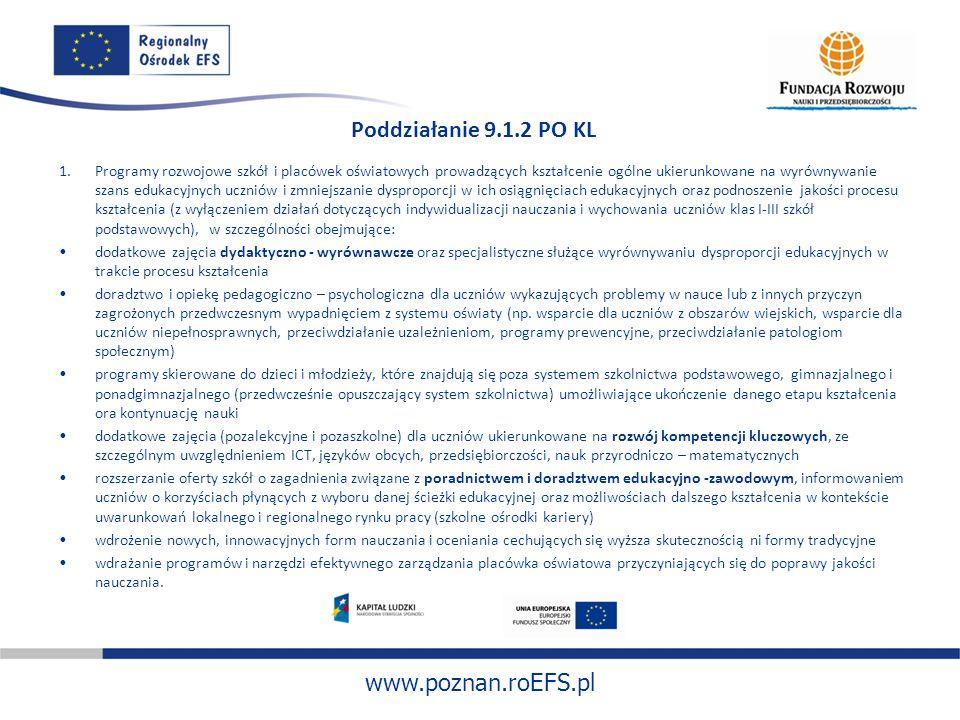 www.poznan.roEFS.pl Poddziałanie 9.1.2 PO KL 1.Programy rozwojowe szkół i placówek oświatowych prowadzących kształcenie ogólne ukierunkowane na wyrówn