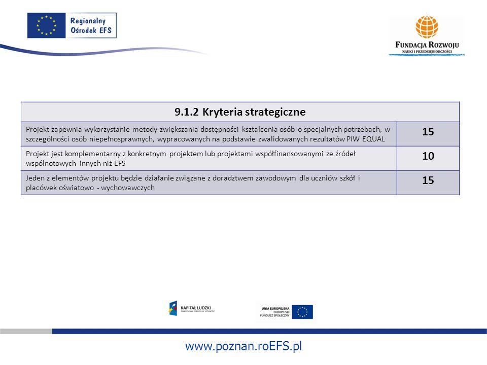 www.poznan.roEFS.pl 9.1.2 Kryteria strategiczne Projekt zapewnia wykorzystanie metody zwiększania dostępności kształcenia osób o specjalnych potrzebac