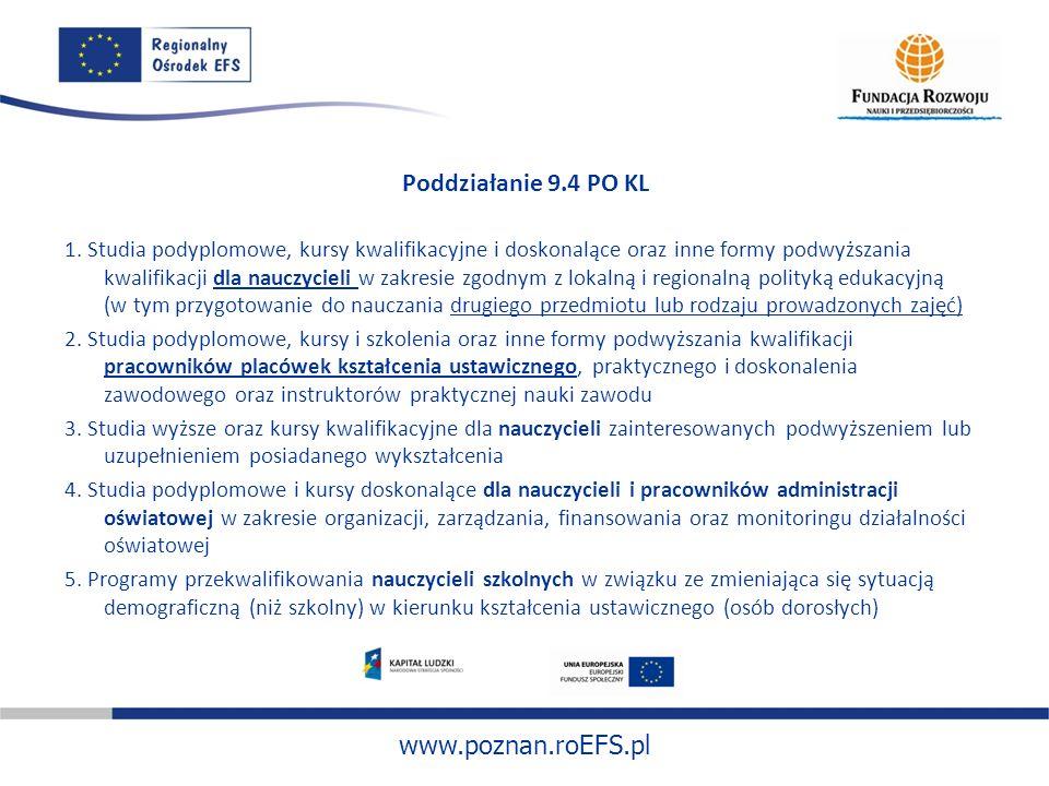 www.poznan.roEFS.pl Poddziałanie 9.4 PO KL 1. Studia podyplomowe, kursy kwalifikacyjne i doskonalące oraz inne formy podwyższania kwalifikacji dla nau