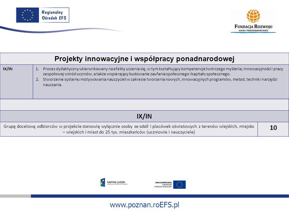 www.poznan.roEFS.pl Projekty innowacyjne i współpracy ponadnarodowej IX/IN1.Proces dydaktyczny ukierunkowany na efekty uczenia się, w tym kształtujący