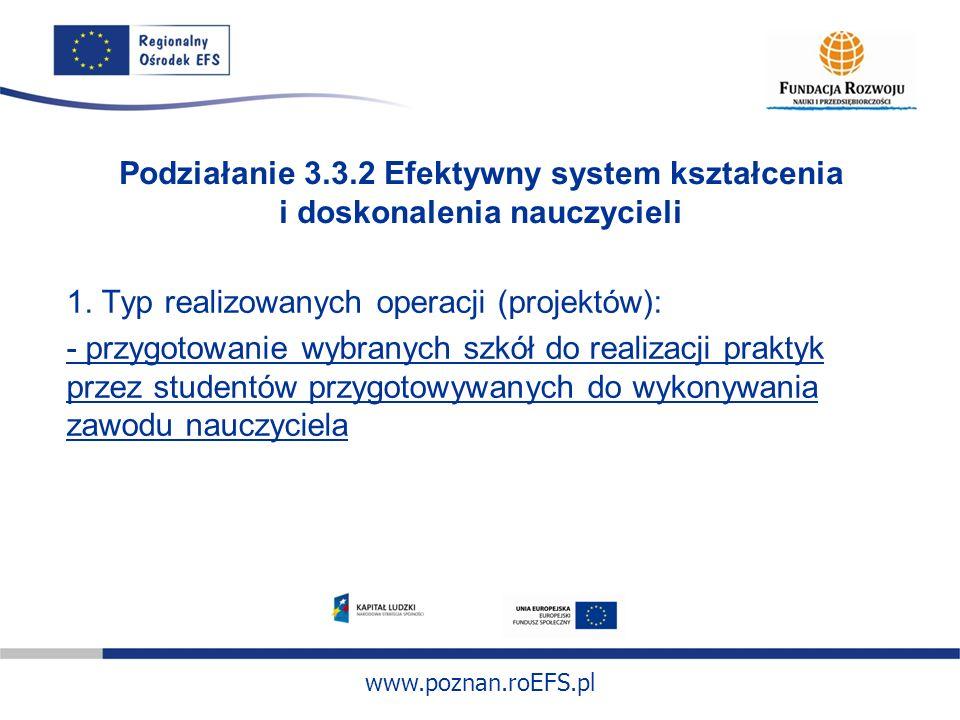 www.poznan.roEFS.pl Podziałanie 3.3.2 Efektywny system kształcenia i doskonalenia nauczycieli 1. Typ realizowanych operacji (projektów): - przygotowan