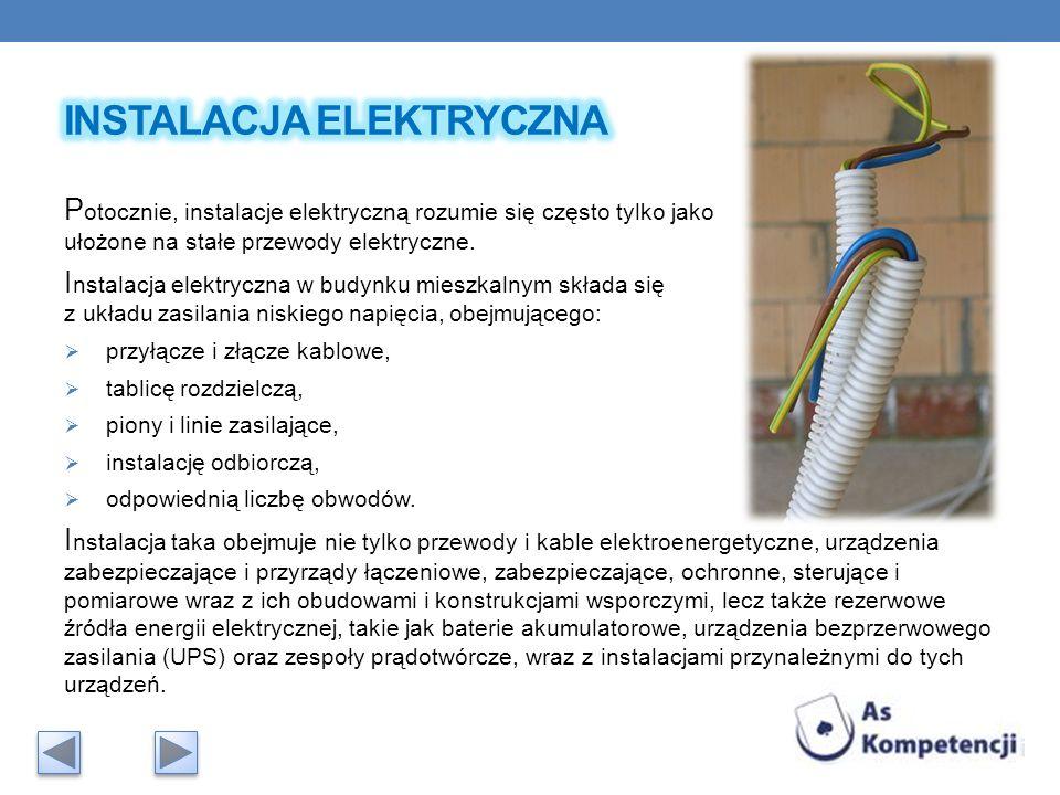 P otocznie, instalacje elektryczną rozumie się często tylko jako ułożone na stałe przewody elektryczne. I nstalacja elektryczna w budynku mieszkalnym