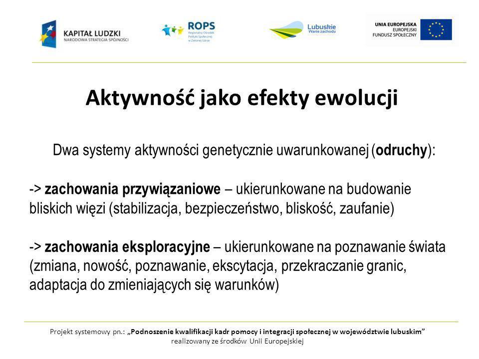 Projekt systemowy pn.: Podnoszenie kwalifikacji kadr pomocy i integracji społecznej w województwie lubuskim realizowany ze środków Unii Europejskiej Aktywność jako efekty ewolucji Dwa systemy aktywności genetycznie uwarunkowanej ( odruchy ): -> zachowania przywiązaniowe – ukierunkowane na budowanie bliskich więzi (stabilizacja, bezpieczeństwo, bliskość, zaufanie) -> zachowania eksploracyjne – ukierunkowane na poznawanie świata (zmiana, nowość, poznawanie, ekscytacja, przekraczanie granic, adaptacja do zmieniających się warunków)