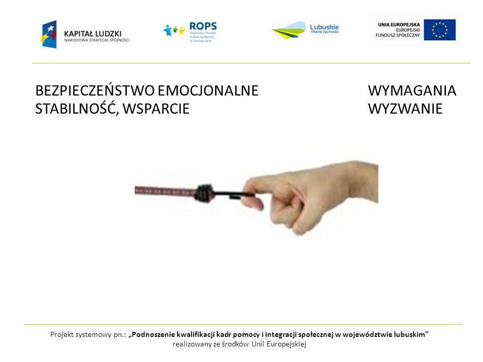 Projekt systemowy pn.: Podnoszenie kwalifikacji kadr pomocy i integracji społecznej w województwie lubuskim realizowany ze środków Unii Europejskiej BEZPIECZEŃSTWO EMOCJONALNEWYMAGANIA STABILNOŚĆ, WSPARCIEWYZWANIE