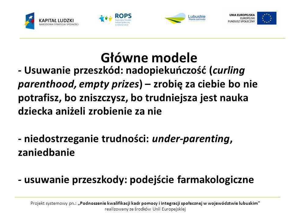 Projekt systemowy pn.: Podnoszenie kwalifikacji kadr pomocy i integracji społecznej w województwie lubuskim realizowany ze środków Unii Europejskiej Główne modele - Usuwanie przeszkód: nadopiekuńczość (curling parenthood, empty prizes) – zrobię za ciebie bo nie potrafisz, bo zniszczysz, bo trudniejsza jest nauka dziecka aniżeli zrobienie za nie - niedostrzeganie trudności: under-parenting, zaniedbanie - usuwanie przeszkody: podejście farmakologiczne