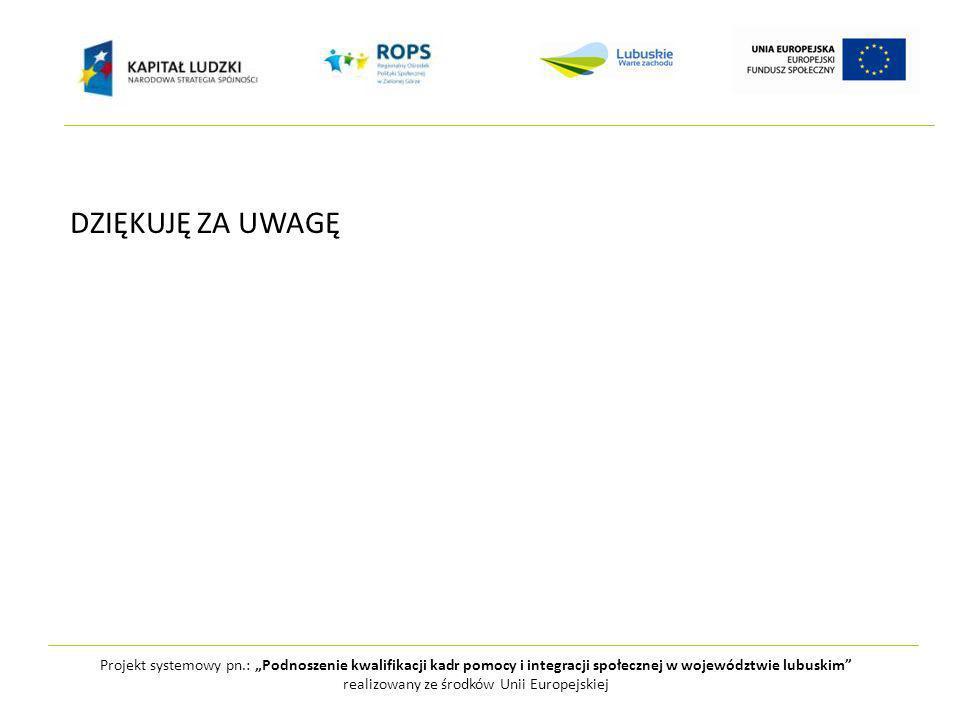 Projekt systemowy pn.: Podnoszenie kwalifikacji kadr pomocy i integracji społecznej w województwie lubuskim realizowany ze środków Unii Europejskiej DZIĘKUJĘ ZA UWAGĘ