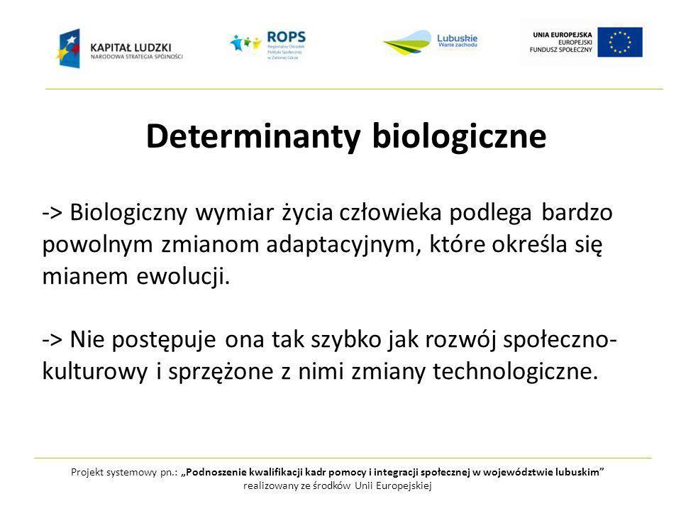 Projekt systemowy pn.: Podnoszenie kwalifikacji kadr pomocy i integracji społecznej w województwie lubuskim realizowany ze środków Unii Europejskiej Determinanty biologiczne -> mózg dziecka nie zmienił się od kilkudziesięciu tysięcy lat -> człowiek biologicznie nie jest przystosowany do współczesnych warunków lecz tych, które istniały w epoce plejstoceńskiej