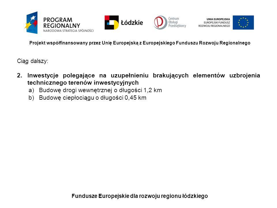 Fundusze Europejskie dla rozwoju regionu łódzkiego Projekt współfinansowany przez Unię Europejską z Europejskiego Funduszu Rozwoju Regionalnego Ciąg d