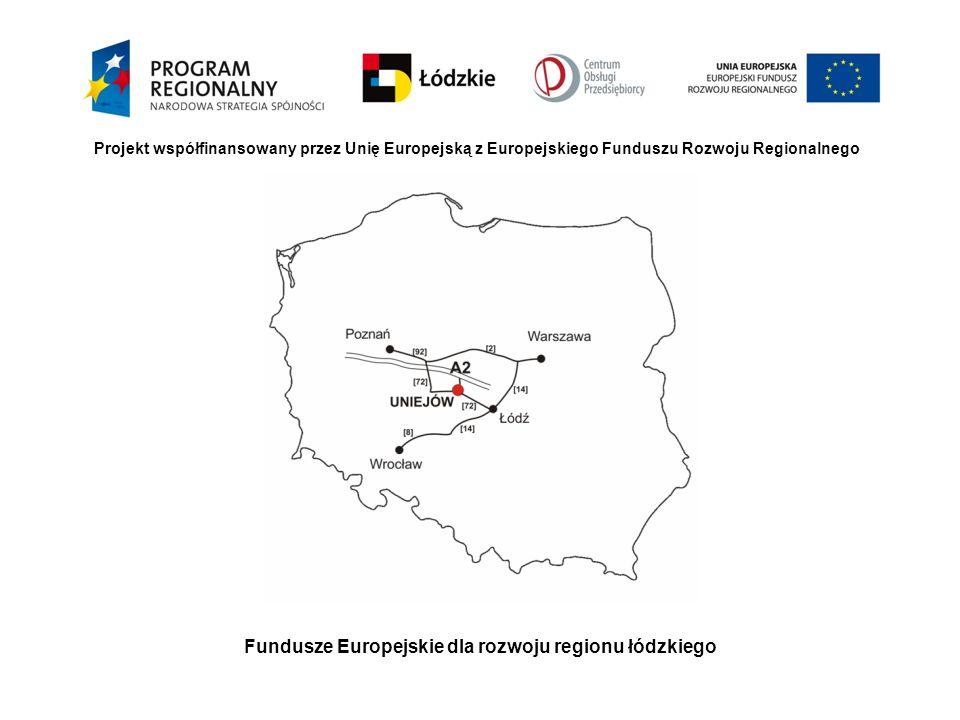 Fundusze Europejskie dla rozwoju regionu łódzkiego Projekt współfinansowany przez Unię Europejską z Europejskiego Funduszu Rozwoju Regionalnego Ciąg dalszy: 2.Inwestycje polegające na uzupełnieniu brakujących elementów uzbrojenia technicznego terenów inwestycyjnych a)Budowę drogi wewnętrznej o długości 1,2 km b)Budowę ciepłociągu o długości 0,45 km
