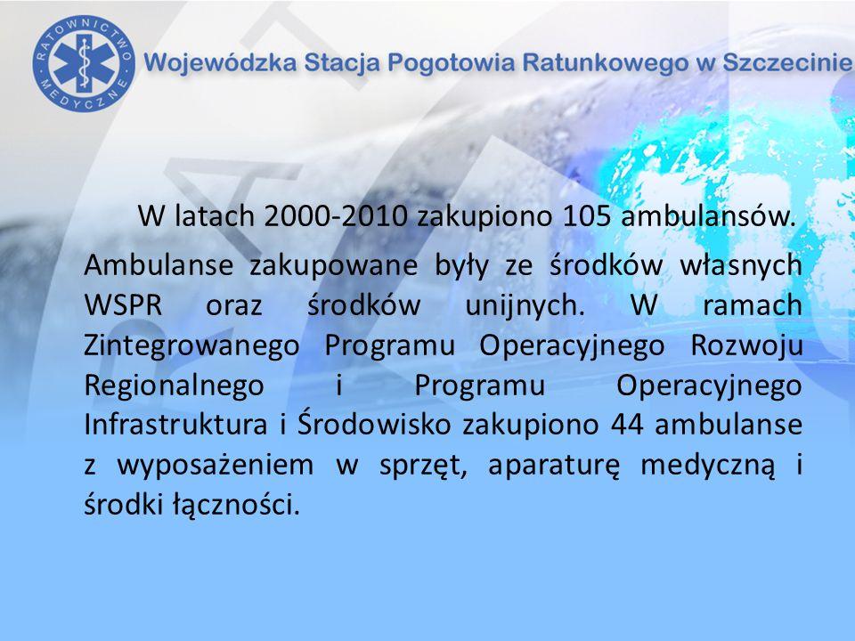 W latach 2000-2010 zakupiono 105 ambulansów. Ambulanse zakupowane były ze środków własnych WSPR oraz środków unijnych. W ramach Zintegrowanego Program