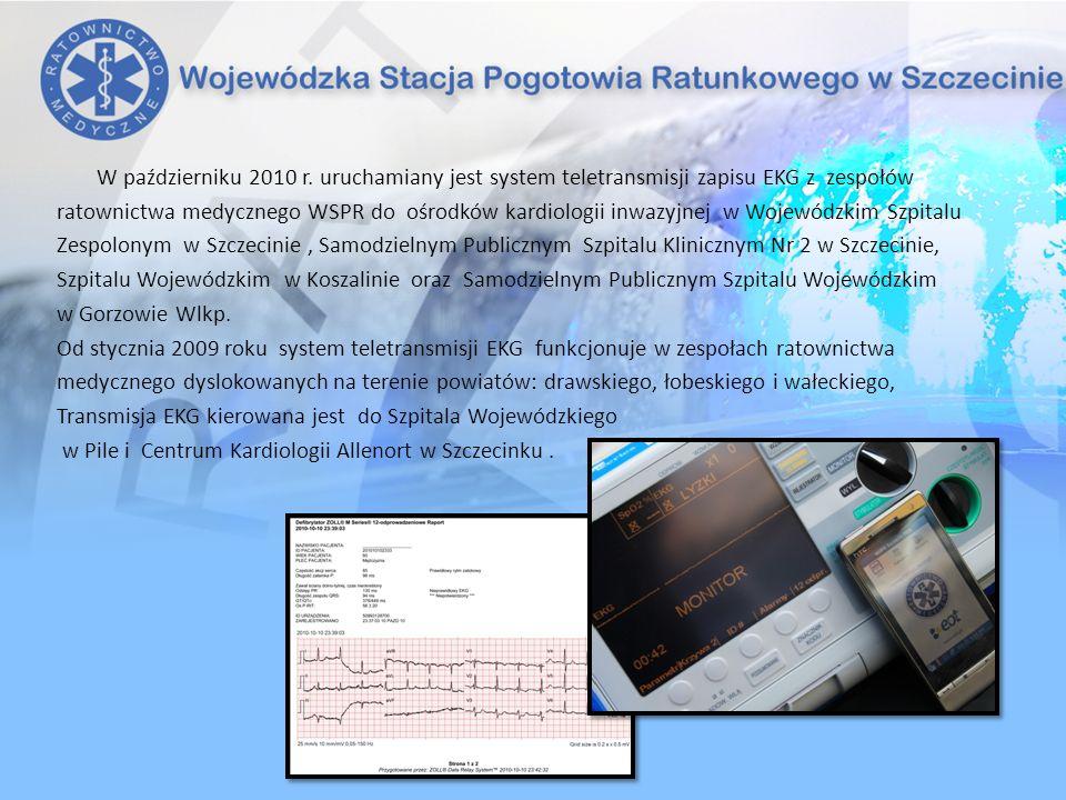 W październiku 2010 r. uruchamiany jest system teletransmisji zapisu EKG z zespołów ratownictwa medycznego WSPR do ośrodków kardiologii inwazyjnej w W