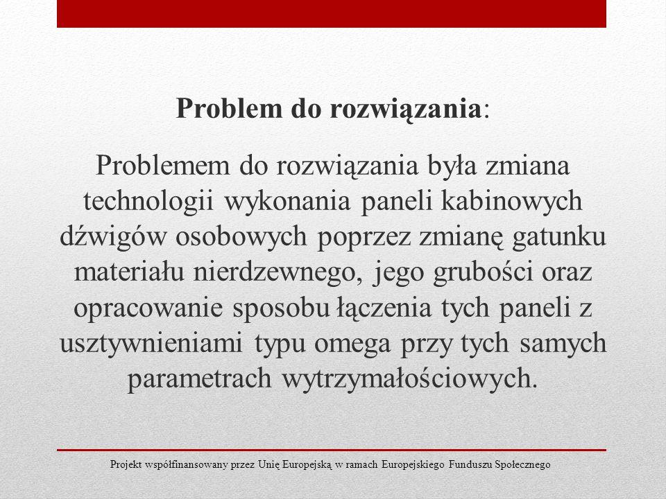 Problem do rozwiązania: Problemem do rozwiązania była zmiana technologii wykonania paneli kabinowych dźwigów osobowych poprzez zmianę gatunku materiał