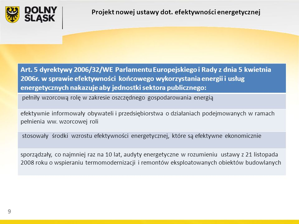 9 Projekt nowej ustawy dot. efektywności energetycznej Art. 5 dyrektywy 2006/32/WE Parlamentu Europejskiego i Rady z dnia 5 kwietnia 2006r. w sprawie