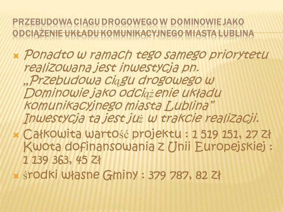 Dnia 27 stycznia 2006 r. Gmina Głusk podpisała umowę z Wojewodą Lubelskim na współfinansowanie inwestycji pt. Przebudowa drogi gminnej Nr 007098 L w m