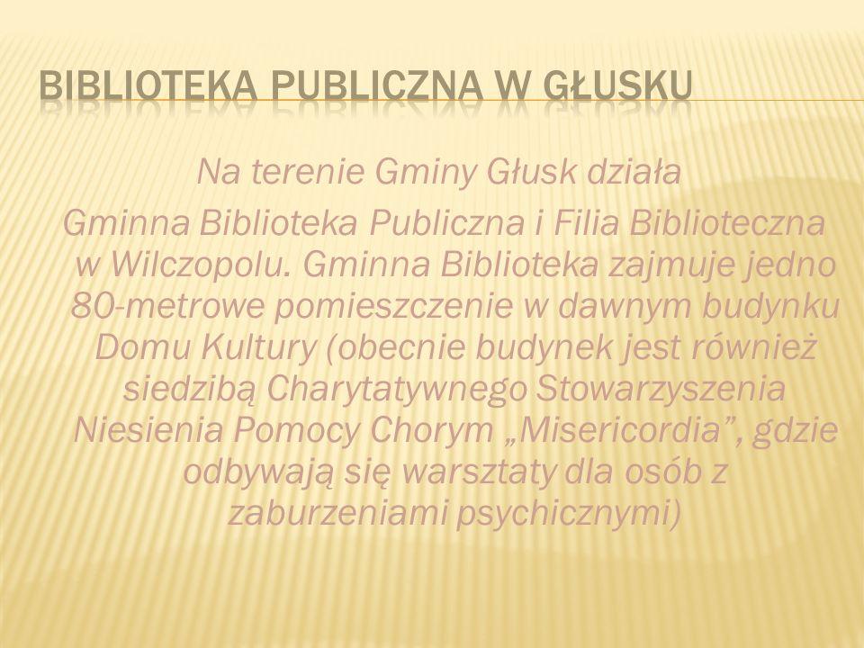 Na terenie Gminy Głusk działa Gminna Biblioteka Publiczna i Filia Biblioteczna w Wilczopolu.