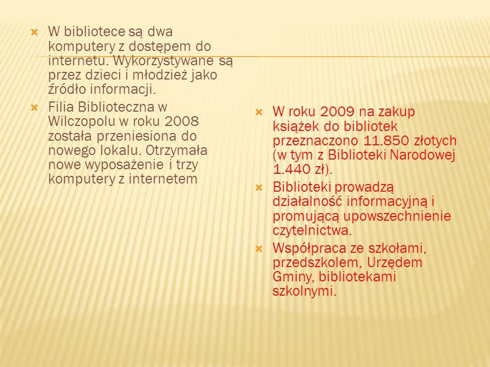Na terenie Gminy Głusk działa Gminna Biblioteka Publiczna i Filia Biblioteczna w Wilczopolu. Gminna Biblioteka zajmuje jedno 80-metrowe pomieszczenie
