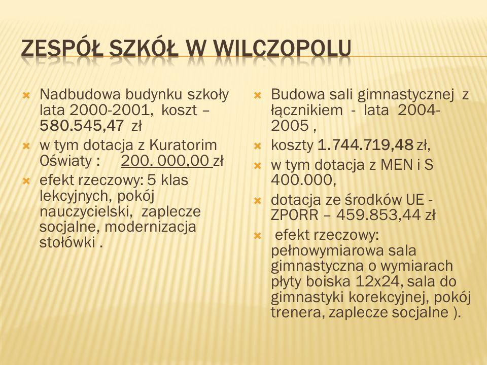 Nadbudowa budynku gimnazjum - lata 2001- 2002 koszt - 552.813,23 w tym 150.000 KO efekt rzeczowy: 4 klasy lekcyjne - w tym 2 klasopracownie, świetlica