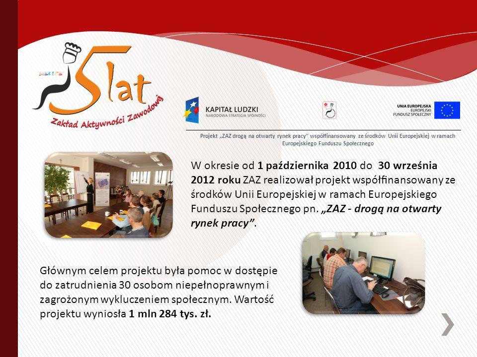 W okresie od 1 października 2010 do 30 września 2012 roku ZAZ realizował projekt współnansowany ze środków Unii Europejskiej w ramach Europejskiego Funduszu Społecznego pn.