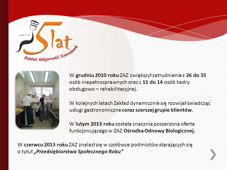 W grudniu 2010 roku ZAZ zwiększył zatrudnienie z 26 do 35 osób niepełnosprawnych oraz z 11 do 14 osób kadry obsługowo – rehabilitacyjnej. W lutym 2013