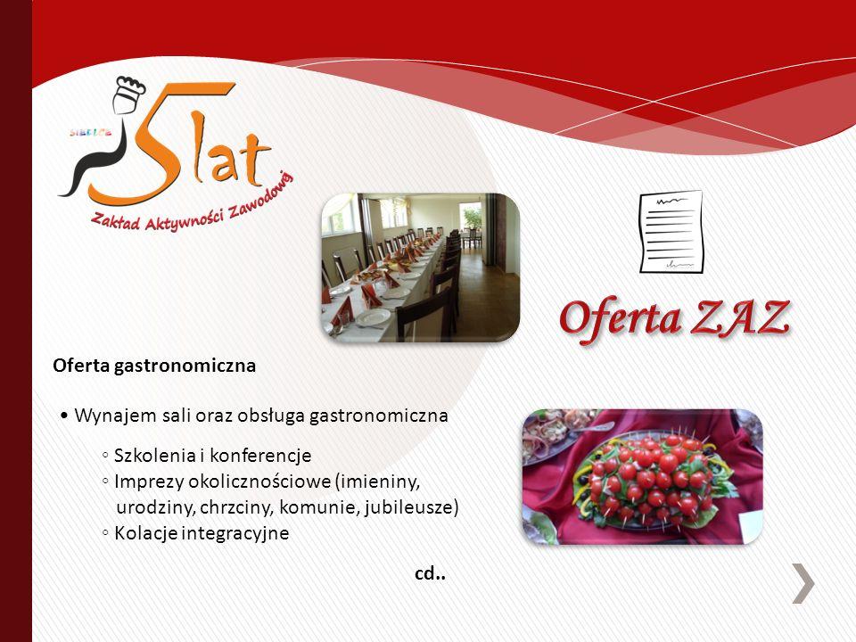 Wynajem sali oraz obsługa gastronomiczna Szkolenia i konferencje Imprezy okolicznościowe (imieniny, urodziny, chrzciny, komunie, jubileusze) Kolacje i