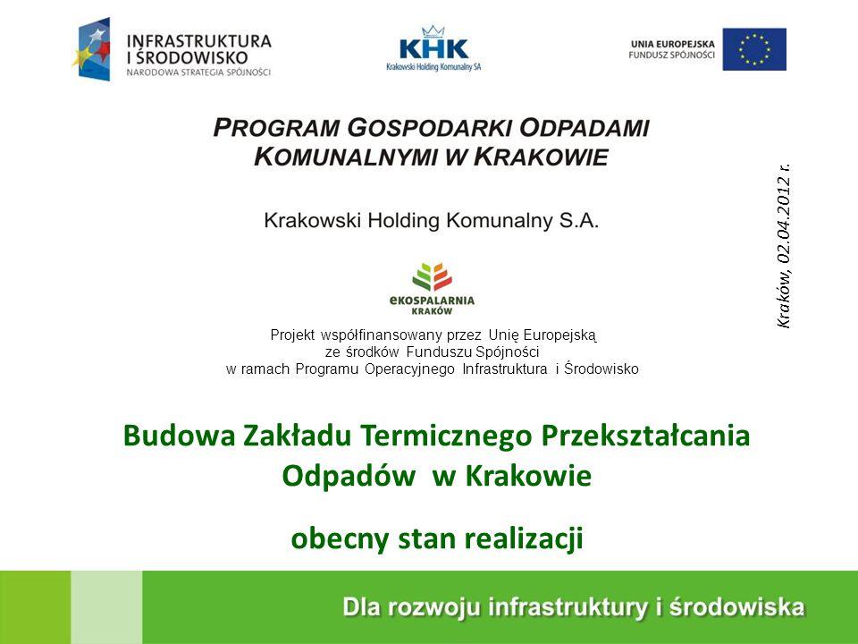 KRAKOWSKA EKOSPALARNIA Budowa Zakładu Termicznego Przekształcania Odpadów w Krakowie obecny stan realizacji 1 Projekt współfinansowany przez Unię Euro