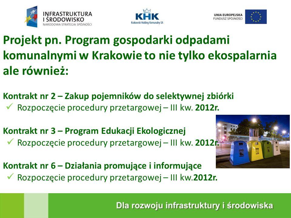 KRAKOWSKA EKOSPALARNIA Projekt pn. Program gospodarki odpadami komunalnymi w Krakowie to nie tylko ekospalarnia ale również: Kontrakt nr 2 – Zakup poj