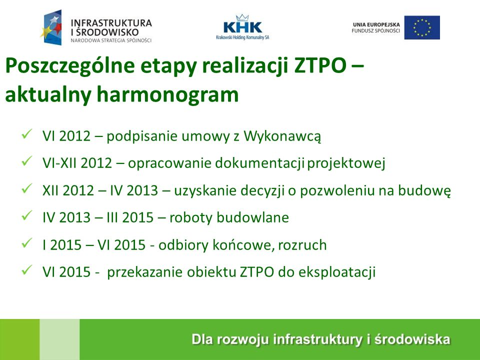 Poszczególne etapy realizacji ZTPO – aktualny harmonogram VI 2012 – podpisanie umowy z Wykonawcą VI-XII 2012 – opracowanie dokumentacji projektowej XI