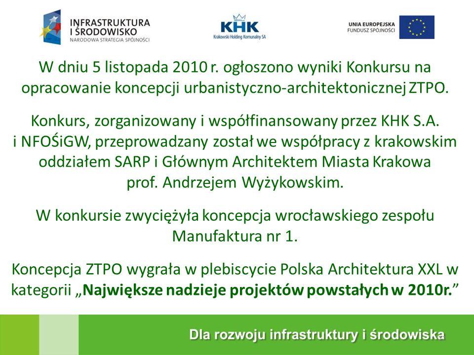 KRAKOWSKA EKOSPALARNIA W dniu 5 listopada 2010 r. ogłoszono wyniki Konkursu na opracowanie koncepcji urbanistyczno-architektonicznej ZTPO. Konkurs, zo