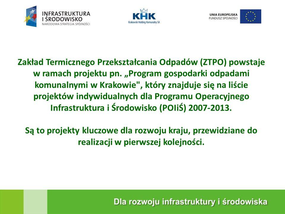 KRAKOWSKA EKOSPALARNIA Zakład Termicznego Przekształcania Odpadów (ZTPO) powstaje w ramach projektu pn. Program gospodarki odpadami komunalnymi w Krak
