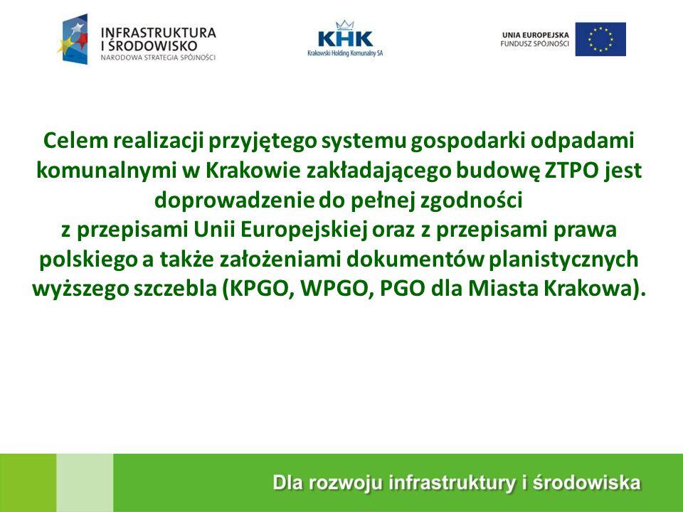 KRAKOWSKA EKOSPALARNIA Celem realizacji przyjętego systemu gospodarki odpadami komunalnymi w Krakowie zakładającego budowę ZTPO jest doprowadzenie do