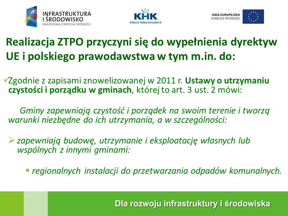 Realizacja ZTPO przyczyni się do wypełnienia dyrektyw UE i polskiego prawodawstwa w tym m.in. do: Zgodnie z zapisami znowelizowanej w 2011 r. Ustawy o