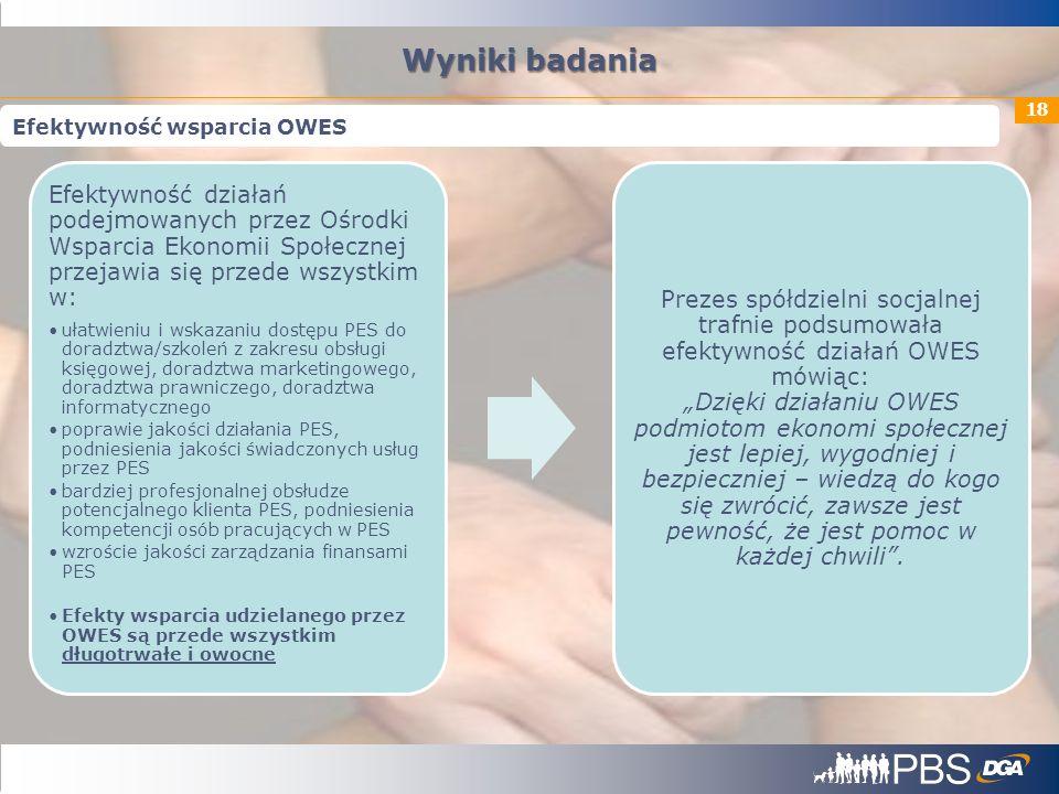 18 Efektywność działań podejmowanych przez Ośrodki Wsparcia Ekonomii Społecznej przejawia się przede wszystkim w: ułatwieniu i wskazaniu dostępu PES d