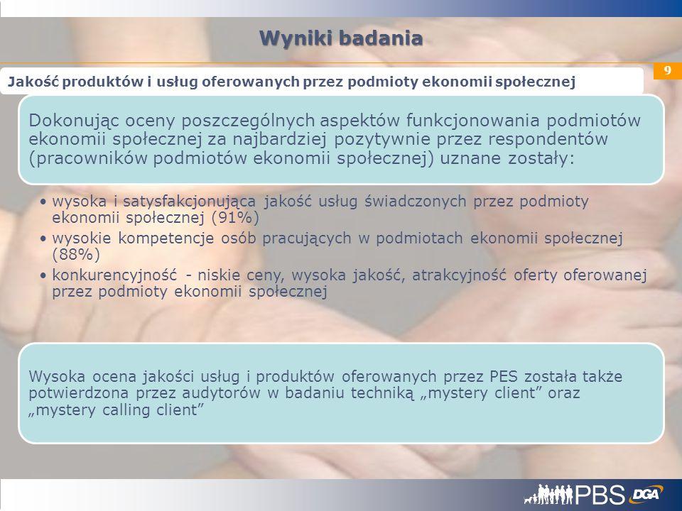 9 Dokonując oceny poszczególnych aspektów funkcjonowania podmiotów ekonomii społecznej za najbardziej pozytywnie przez respondentów (pracowników podmi
