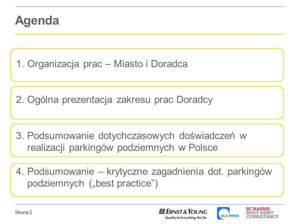 Strona 2 Agenda 1.Organizacja prac – Miasto i Doradca 2.Ogólna prezentacja zakresu prac Doradcy 3.Podsumowanie dotychczasowych doświadczeń w realizacj