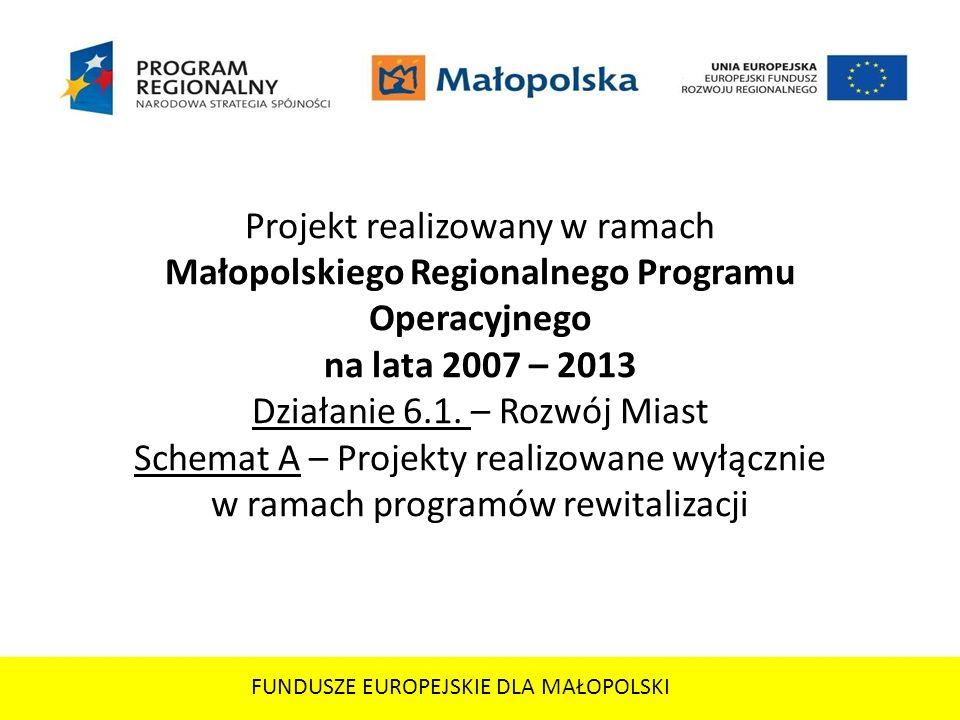 Projekt realizowany w ramach Małopolskiego Regionalnego Programu Operacyjnego na lata 2007 – 2013 Działanie 6.1. – Rozwój Miast Schemat A – Projekty r