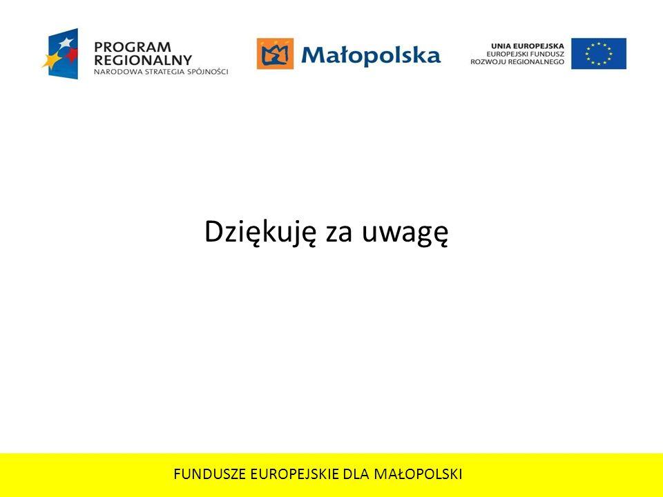 FUNDUSZE EUROPEJSKIE DLA MAŁOPOLSKI Dziękuję za uwagę