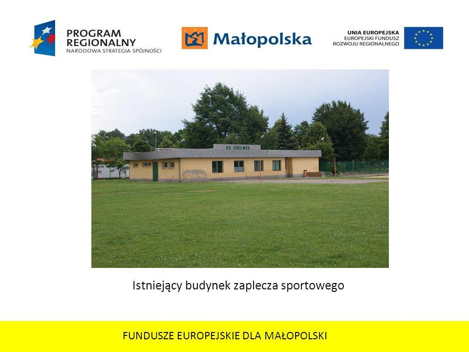FUNDUSZE EUROPEJSKIE DLA MAŁOPOLSKI Istniejący budynek zaplecza sportowego