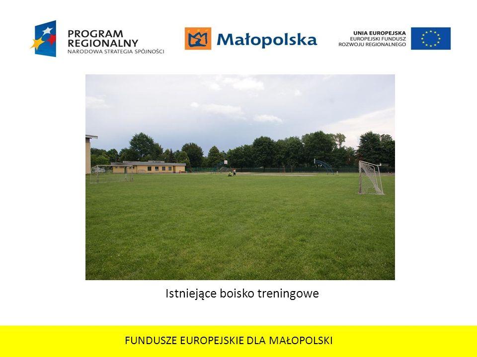 FUNDUSZE EUROPEJSKIE DLA MAŁOPOLSKI Istniejące boisko treningowe