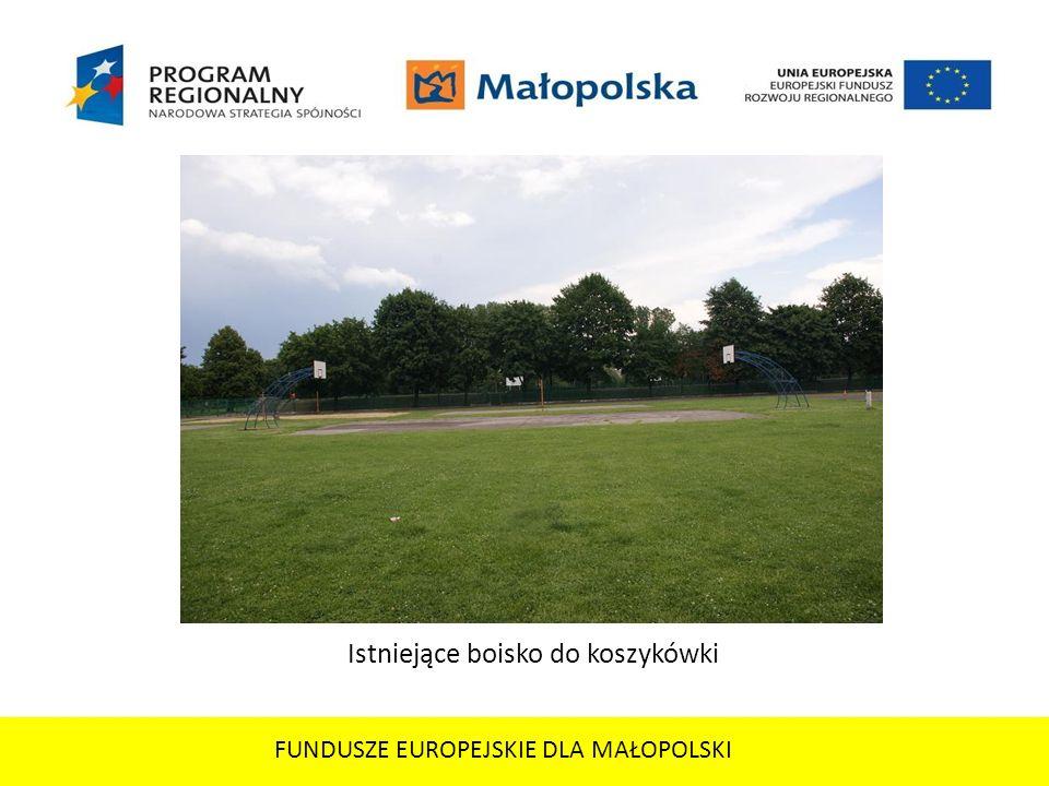 FUNDUSZE EUROPEJSKIE DLA MAŁOPOLSKI Istniejące boisko do koszykówki