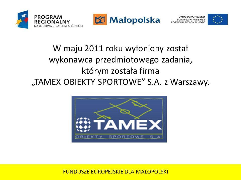 FUNDUSZE EUROPEJSKIE DLA MAŁOPOLSKI Firma TAMEX OBIEKTY SPORTOWE SA działa od roku 1999, buduje obiekty sportowe na terenie całej Polski, zarówno zewnętrzne, takie jak boiska piłkarskie, wielofunkcyjne, stadiony, korty tenisowe i bieżnie, ale również hale sportowe i tenisowe.