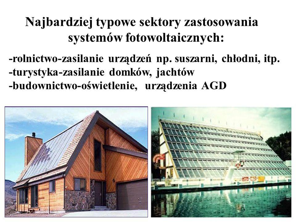 Najbardziej typowe sektory zastosowania systemów fotowoltaicznych: -rolnictwo-zasilanie urządzeń np. suszarni, chłodni, itp. -turystyka-zasilanie domk