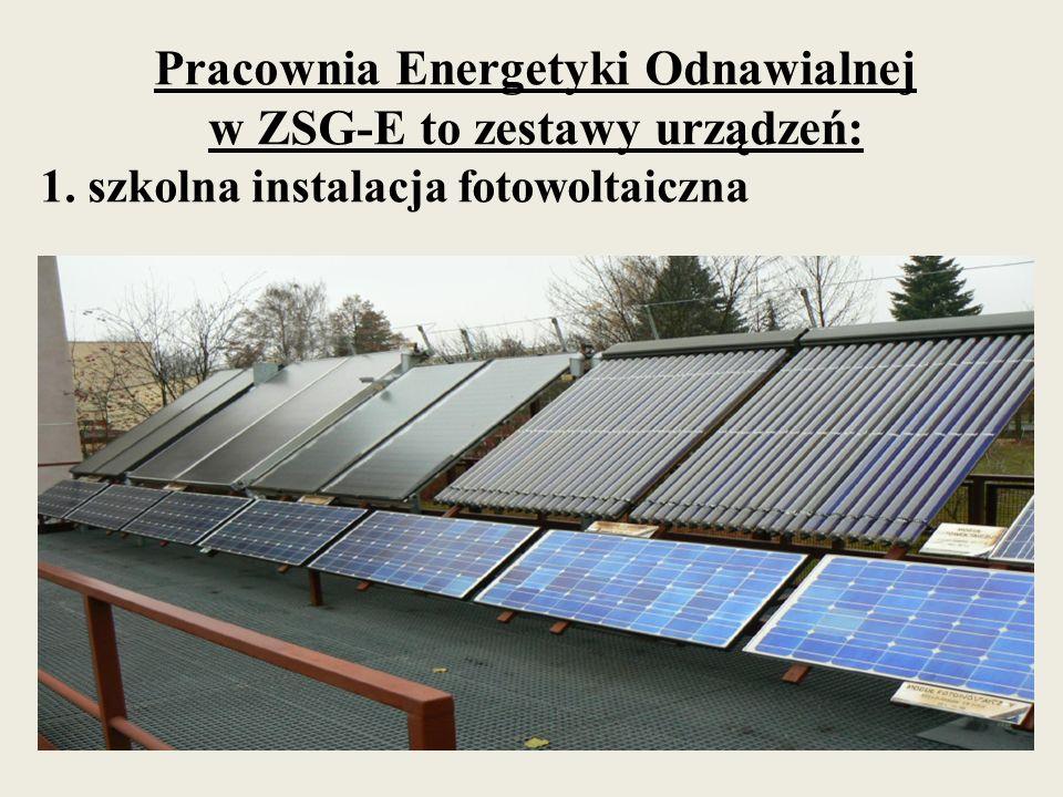 Pracownia Energetyki Odnawialnej w ZSG-E to zestawy urządzeń: 1. szkolna instalacja fotowoltaiczna